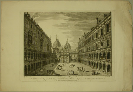 The court of the magnificent buildings of the Ducal Palace, over the front are seen the cupolas of ...