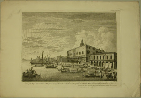 A view of the Doges Palace at Venice with the Gran landing place before it. The Prison on the right ...