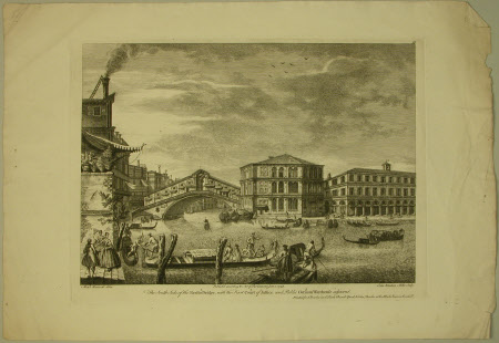 The south side of the Rialto bridge, with the first Court of Justice and public German Warehouse ...