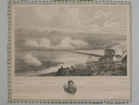 Passage du pont de Lodi (after Victor Adam).The portrait is of General Louis Alexandre Berthier, ...