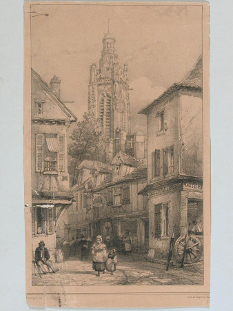 View of town street with church bell tower in background (after Adolphe Rouargue)