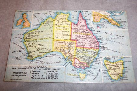 Postcard map of Australia