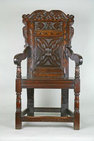 Panel-back armchair