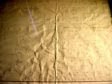 Map of Great Gonerby farm land, Lincolnshire, showing the sizes of the individual fields, and in ...