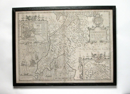 Map of Caernarvon. Both Shyre and Shire Town with the ancient citie of Bangor described. Anno 1610