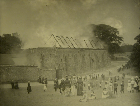 Old Barn on fire, Knole, Kent (June 1887)