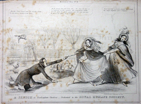 A Sketch in Buckingham Gardens - dedicated to the Royal Humane Society: Queen Victoria (1819-1901) ...