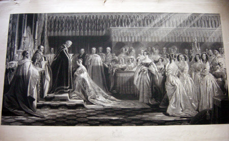 Queen Victoria (1819-1901) receiving the Holy Sacrament at Her Coronation in Westminster Abbey, ...