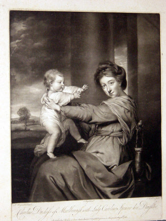 Lady Caroline Russell, Duchess of Marlborough (1743-1811) with her daughter Lady Caroline Sencer, ...