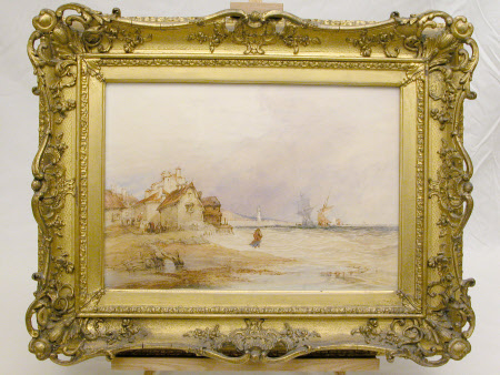 Beach scene in stormy weather (after William Callow)