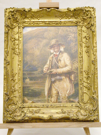 An elderly fisherman standing in a river, selecting a fly (after ? William Henry Hunt)