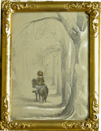 Back View of a Child Riding a Pony in the Avenue, Lanhydrock, Cornwall