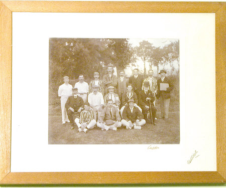 Group of cricketers including Thomas Charles Agar-Robartes, 6th Viscount Clifden (1844-1930) and  ...