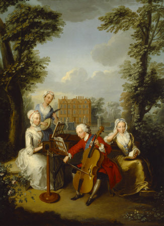 Prince Frederick Louis, Prince of Wales (1707–1751) playing the Cello, accompanied by his Sisters, ...
