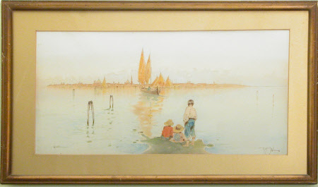 Three children on a spit of sand looking towards Venice