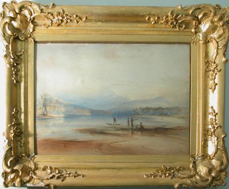 Mountain lake scene with people spear-fishing