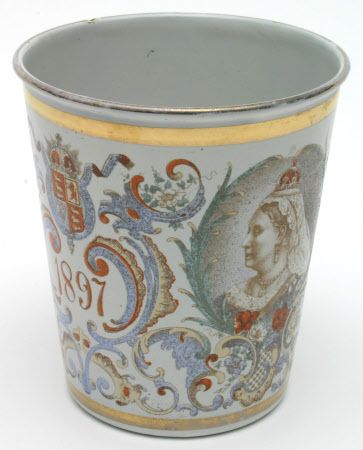 A beaker commemorating the Diamond Jubilee of Queen Victoria (1819-1901)