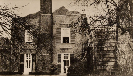 View of the garden doors and terrace, Lamb House, Rye, East Sussex.