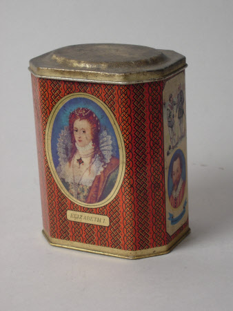 Rowntrees cocoa tin, with images of Queen Elizabeth I, William Shakespeare and Sir Francis Drake.
