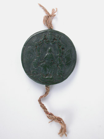 Large circular green wax seal of Charles II (1630-1685)