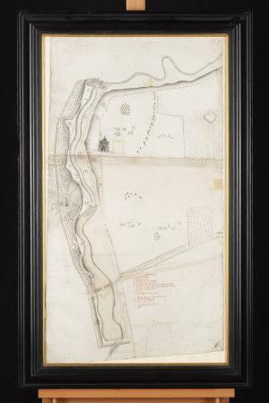 Map/plan of Wallington Grounds, the South Park, Pagoda and River Wansbeck, Northumberland.