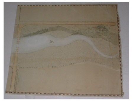 Map/plan/design for a river broadening into a lake possibly for Wallington Park, Northumberland.