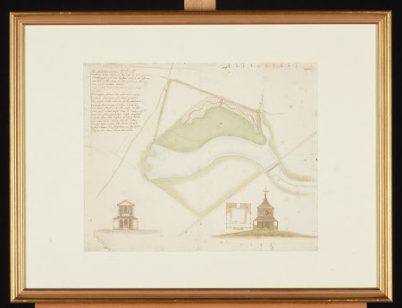 Map/plan for a landscape feature including a river and folly(s), Wallington, Northumberland