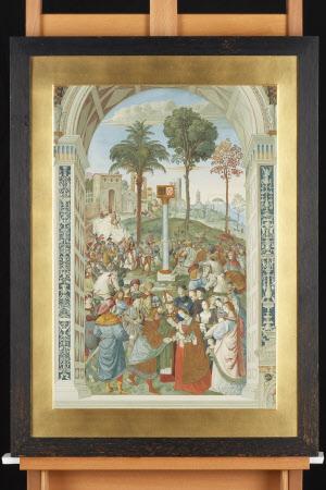 Enea Silvio Piccolomini as Bishop of Siena, later Pope Pius II (1405-1464) introduces the Holy ...