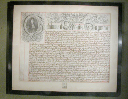 Warrant - with portraits of King William III (William of Orange) (1650–1702) and Queen Mary II ...