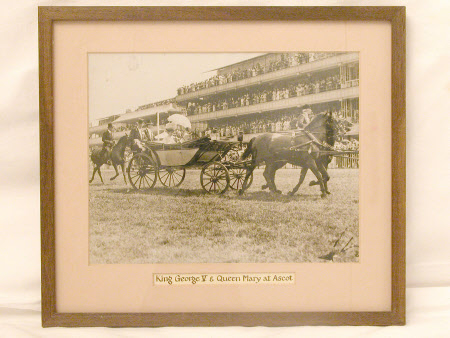 King George V (1865–1936) and Queen Mary (1867–1953) in a landau at Ascot Racecourse