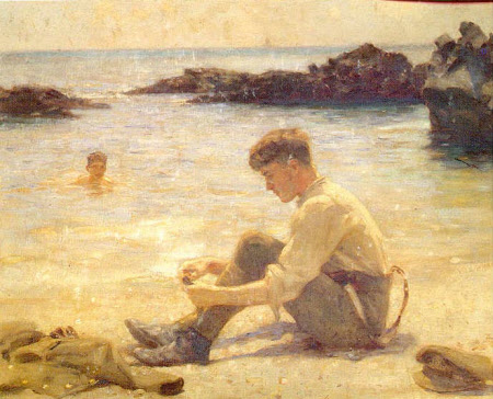 A Cadet (possibly T. E. Lawrence) at Newporth Beach, near Falmouth