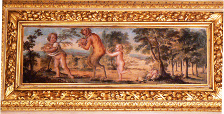 Two Putti and a Satyr with Bunches of Grapes