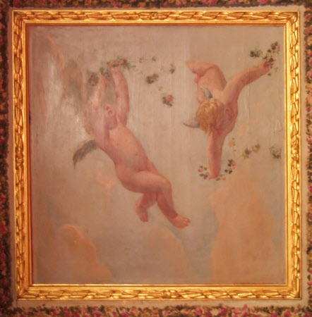 Two Cupids sprinkling Flowers