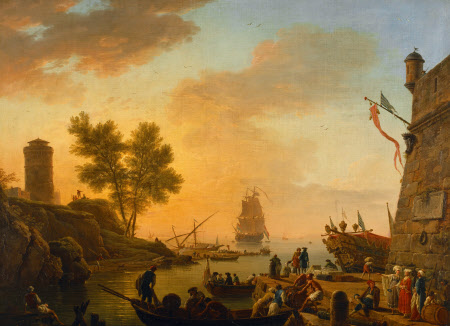 Evening: Harbour Scene with Boats being unloaded and Spectators