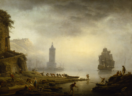 Morning: A Port in Mist - Fishermen hauling in their Boat