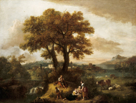An Italian Landscape with Boy Piping