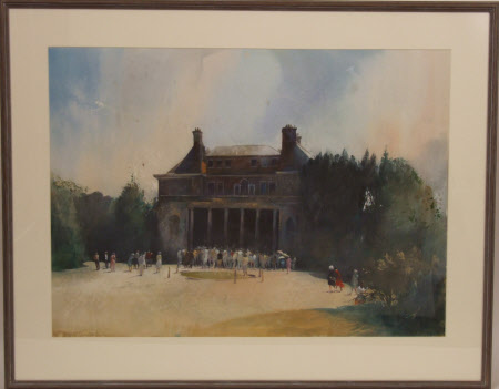 Visitors waiting to go into the House, Uppark