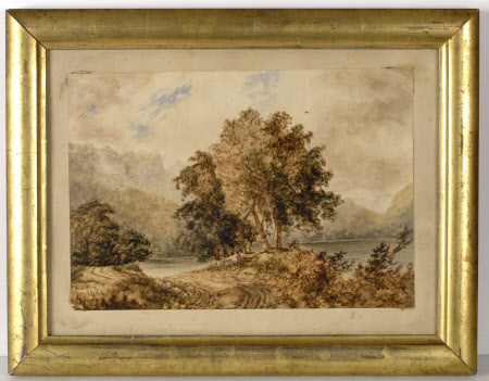 Lakes and trees with two figures