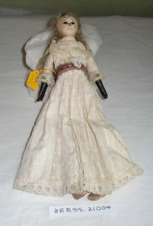 Wax on composition shoulder-head doll