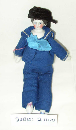 Glazed china shoulder-head doll