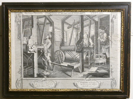 Industry and Idleness, Plate 1. The Fellow 'Prentices at their Looms
