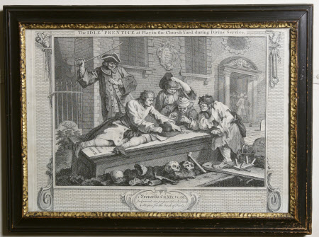 Industry and Idleness - Plate 3. The Idle 'Prentice at Play in the Church Yard during Divine Service