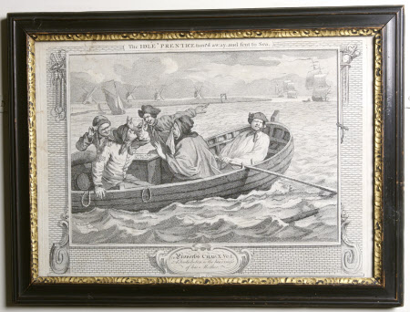 Industry and Idleness - Plate 5. The Idle 'Prentice turn'd away and sent to Sea