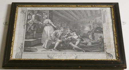 Industry and Idleness - Plate 9. The Idle 'Prentice Betray'd by his Whore and Taken in a Night ...
