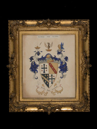 Coat of arms of Richmond Webb Pulleyne. Motto 'Resolve Well Preservere'.