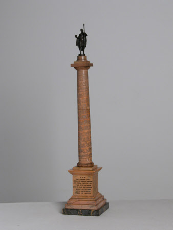 Trajan's Column with a statue of the Emperor Trajan, Emperor of Rome (53-117 AD)
