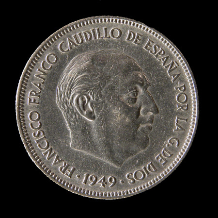 Five Peseta Coin, 1949: General Francisco Franco (1892-1975)