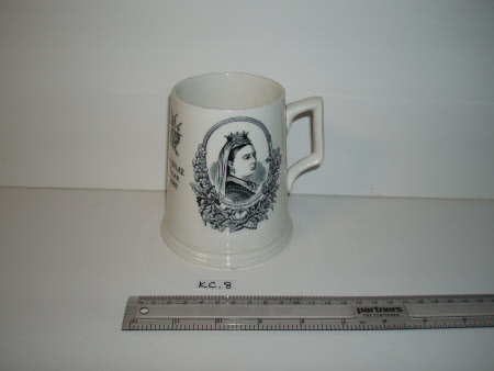 A commemorative ceramic tankard produced to celebrate Queen Victoria's Golden Jubilee in 1887.