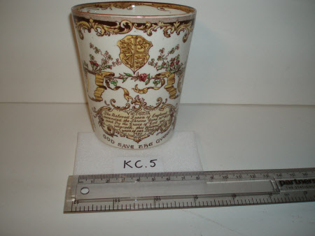 A commemorative ceramic beaker produced to celebrate the diamond jubilee of Queen Victoria's reign, ...
