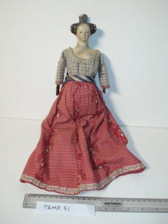Papier mache shoulder-head doll